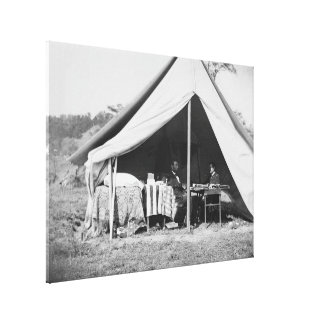Lincoln & Gen McClellan on Battle field Antietam Canvas Print