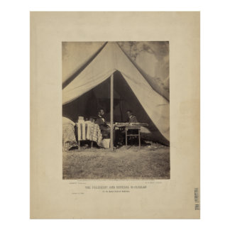 Lincoln & Gen McClellan on Battle field Antietam Poster