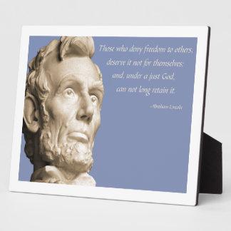 Lincoln God Photo Plaque