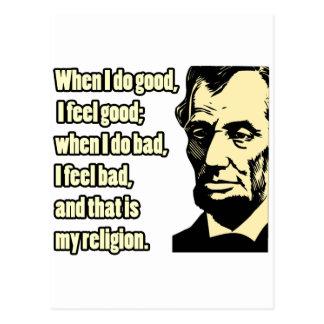 Lincoln Good Bad Religion Quote Postcard
