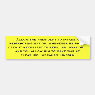 Lincoln: Guerra con derecho preferente Pegatina Para Auto