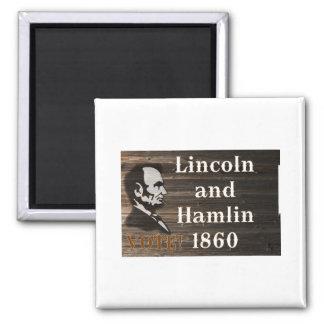 Lincoln-Hamlin 1860 Imán Cuadrado