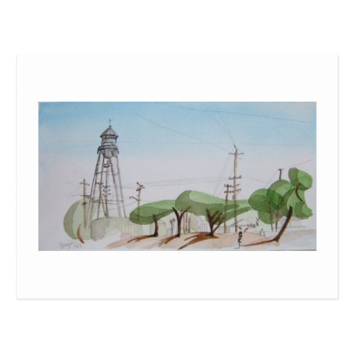 Lincoln Highway, Dixon, California. Original art. Postcard
