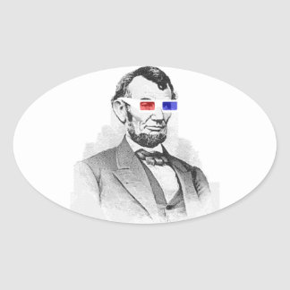 Lincoln in 3D! Oval Sticker