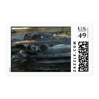Lincoln Log Cabin Sheep Stamps