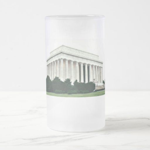 Lincoln Memorial 16 Oz Frosted Glass Beer Mug