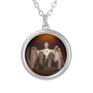 Lincoln Memorial At Night - Washington D.C. Silver Plated Necklace