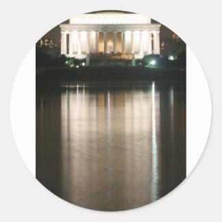 Lincoln Memorial Night Reflection Classic Round Sticker