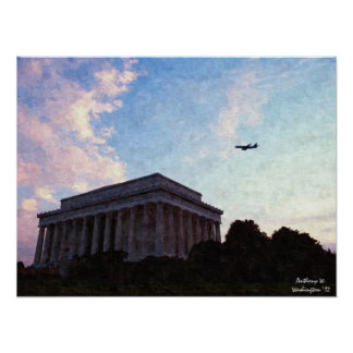 Lincoln Memorial Oil Painting Poster