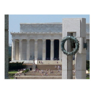 Lincoln Memorial photo view from WWII memeorial Postcard