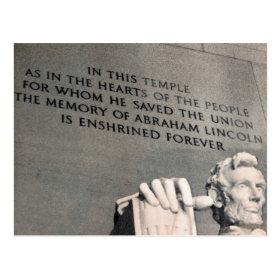 lincoln memorial quote postcard