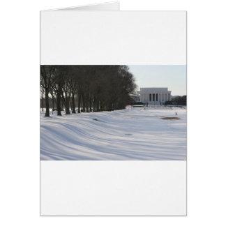 lincoln memorial snow greeting card