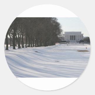 lincoln memorial snow classic round sticker