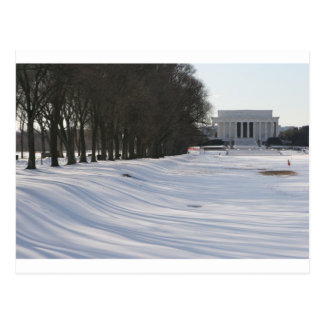 lincoln memorial snow post card