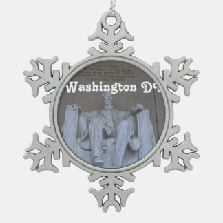 Lincoln Memorial Snowflake Pewter Christmas Ornament