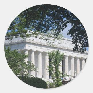 Lincoln Memorial through Trees.JPG Classic Round Sticker