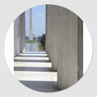 lincoln memorial washington monument classic round sticker