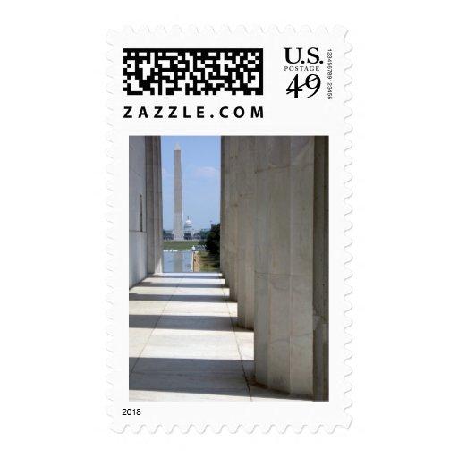 lincoln memorial washington monument postage stamp