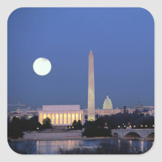 Lincoln Memorial, Washington Monument, US Square Sticker