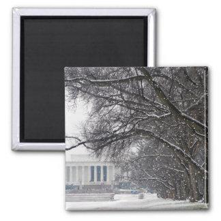 lincoln memorial winter snow 2 inch square magnet