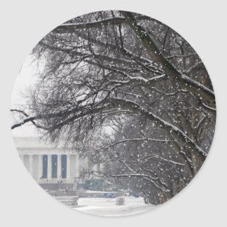 lincoln memorial winter snow classic round sticker