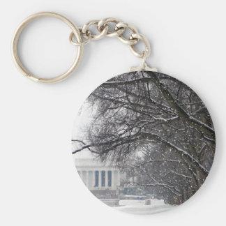 lincoln memorial winter snow basic round button keychain