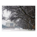lincoln memorial winter snow postcards