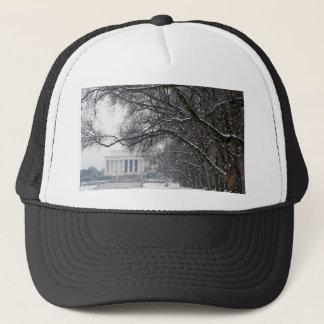 lincoln memorial winter snow trucker hat