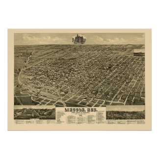 Lincoln, NE Panoramic Map - 1889 Posters