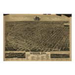 Lincoln Nebraska 1889 Antique Panoramic Map Poster