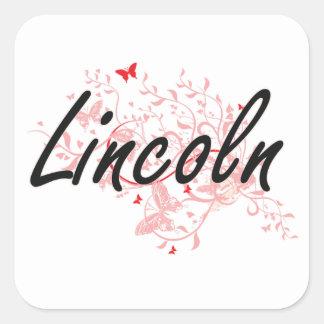 Lincoln Nebraska City Artistic design with butterf Square Sticker