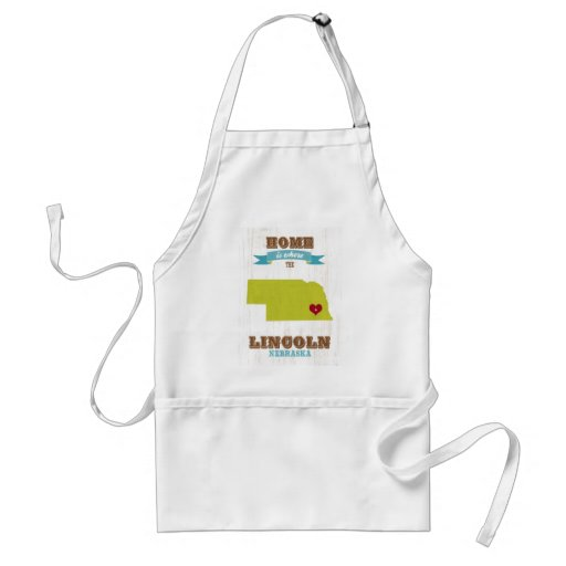 Lincoln Nebraska Map – Home Is Where The Heart Is Apron