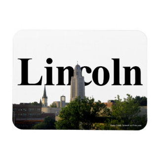 Lincoln, Nebraska Skyline with Lincoln in the Sky Rectangular Photo Magnet
