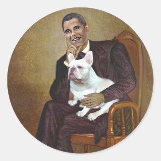 Lincoln-Obama-FrenchBD - W Round Stickers