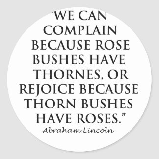 Lincoln: on  Thornes and Roses (Clear) Classic Round Sticker