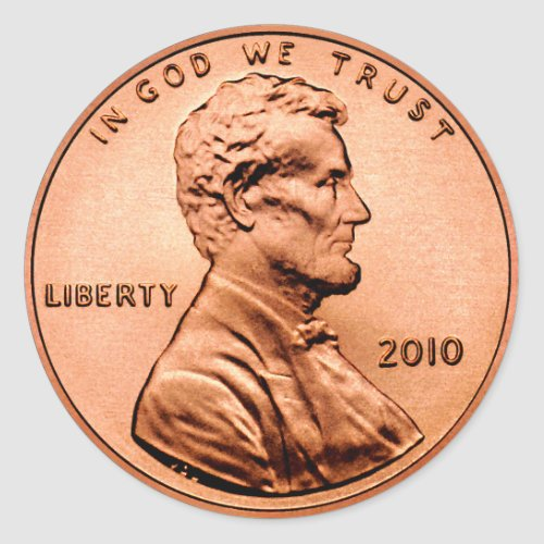 Lincoln Penny Classic Round Sticker