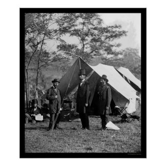 Lincoln, Pinkerton and McClernand at Antietam 1862 Poster