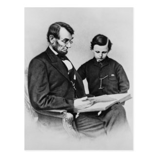 Lincoln  Postcard - reading with son Tad, 1864