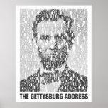 Lincoln/poster del mosaico del texto de Gettysburg