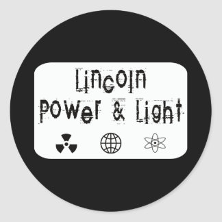 Lincoln Power and Light, White Classic Round Sticker