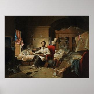 Lincoln que escribe la proclamación de la emancipa impresiones