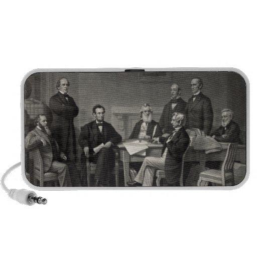 Lincoln que lee la proclamación de la emancipación altavoces de viajar