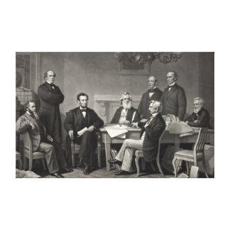 Lincoln que lee la proclamación de la emancipación impresiones en lona estiradas