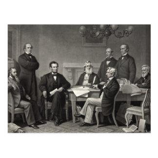 Lincoln que lee la proclamación de la emancipación postales