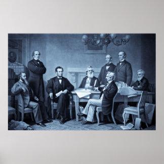 Lincoln que lee la proclamación de la emancipación póster