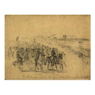 Lincoln que revisa al ejército abril de 1863 tarjetas postales