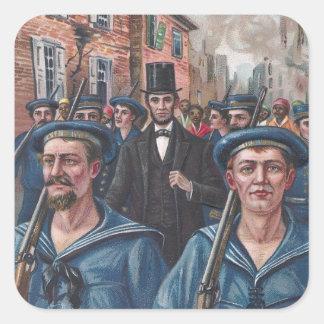 Lincoln que visita Richmond VA en 1865 Pegatina Cuadrada
