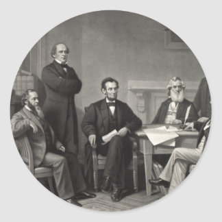 Lincoln Reading the Emancipation Proclamation Classic Round Sticker