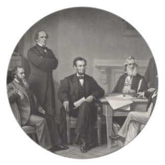 Lincoln Reading the Emancipation Proclamation Party Plates