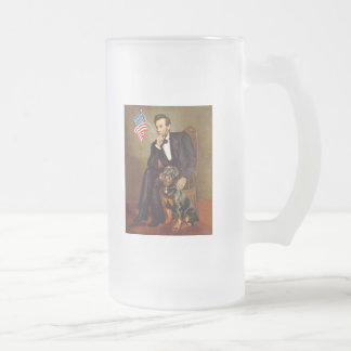 Lincoln  - Rottweiler Frosted Glass Beer Mug